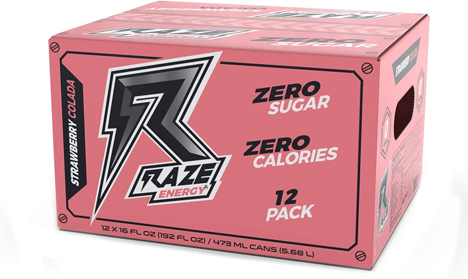 Raze Energy Drink | Performance and Hydration | Sugar Free, Zero Calorie Energy Drink - Strawberry Colada 12 Pack