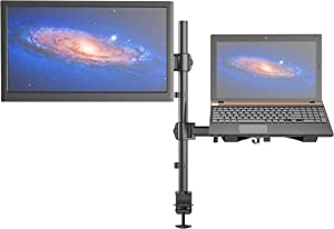 """SHOPPINGALL Fully Adjustable Dual Gas Spring 2 in1 Monitor & Laptop OR Double Monitors Mount Stand with 2 Swing Arms for Monitors up to 32"""", Desk Clamp and Grommet Mounting Options Included - SA-LH07"""