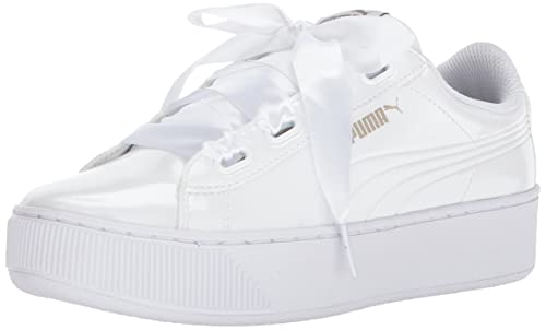 PUMA Women's Vikky Platform Ribbon P Sneaker, White, 8.5 M