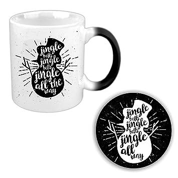 YaYa Cafe� Christmas Gifts Magic Coffee Mug, 330 ml with Coaster (White) - Jingle Bells Snowman