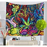 Psychedelic Tapestry , Abstract Unusual Figure with Color and Form Details Hippie Arabesque Retro Pattern, Wall Hanging for Bedroom Living Room Dorm(CS-BS12-4)