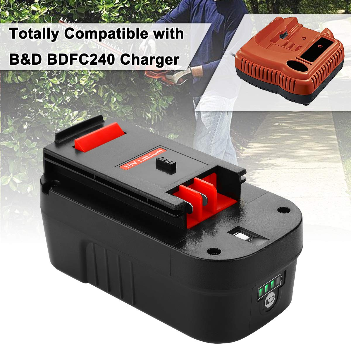 Energup Upgraded 5000mAh Lithium Black & Decker 18V Replacement Battery for HPB18 HPB18-OPE 244760-00 A1718 FS18FL FSB18 Firestorm Black and Decker 18 Volt Battery by Energup (Image #5)