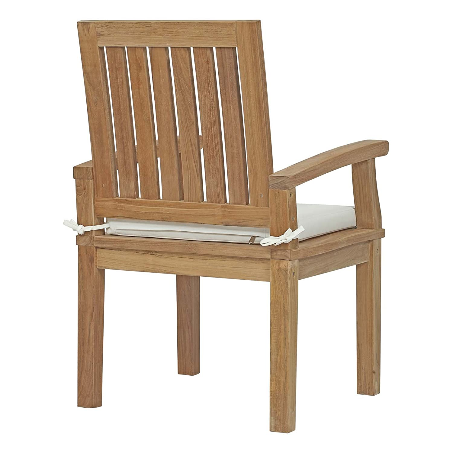 Amazon com modway marina teak wood outdoor patio dining armchair in natural white garden outdoor