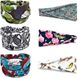 Headbands for Women's Yoga Hair Bands Turban Head wraps, 6 Pack Workout Running Wide Boho Stretchy Soft Headwraps