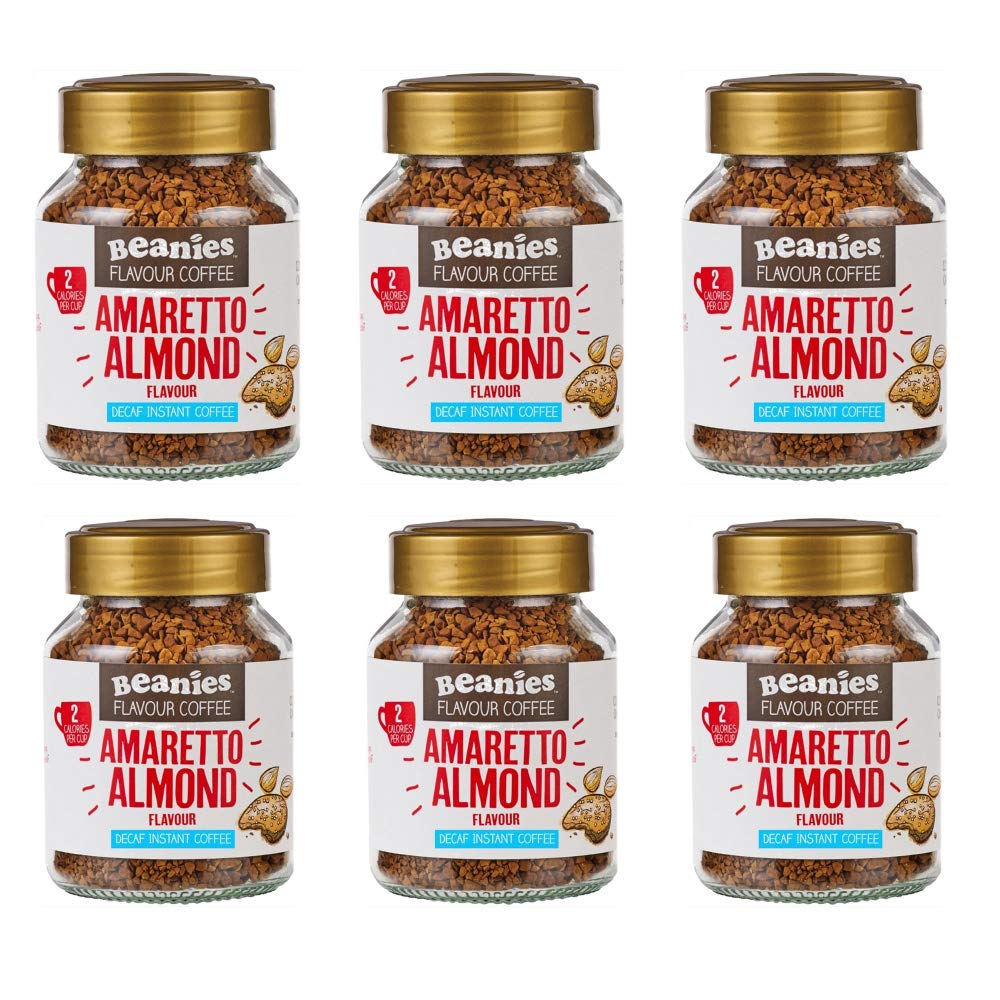 Beanies Decaf Amaretto Flavoured Instant Coffee 50 g (Pack of 6)