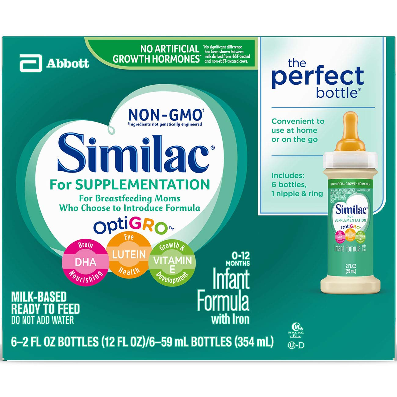Similac For Supplementation Infant Formula with Iron, Ready-to-Feed Bottles, 2 Ounce, (Pack of 48) by Similac For Supplementation (Image #7)