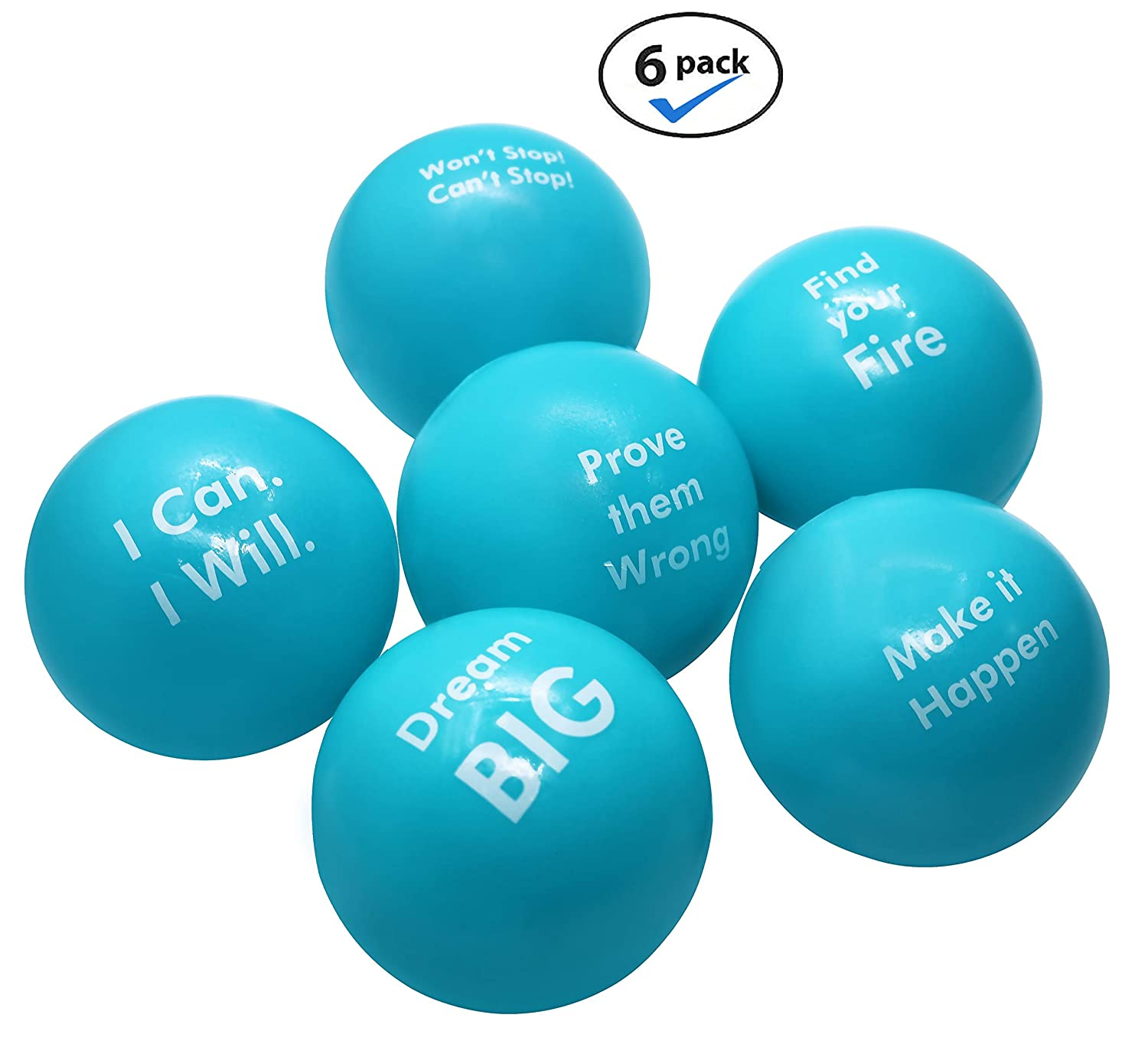 Pure Origins | Motivational Stress Balls | Hand Exercise|Gift 6 Pack |Fidget Accessory for Stress Relief Special Needs Concentration Anxiety Motivation ADHD Autism and Team Building Scuba Blue