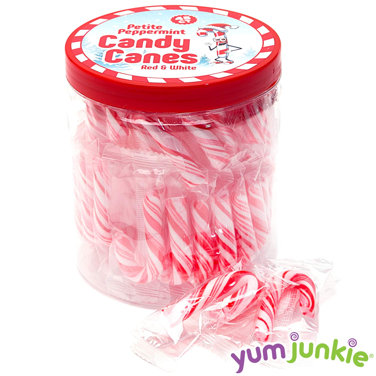 Mini Candy Canes - Red and White - 45 Piece Jar by YumJunkie