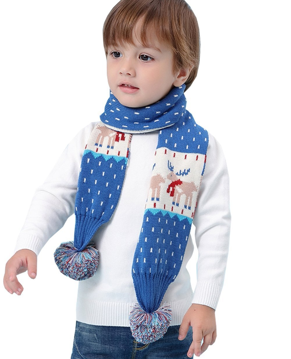 Kids Christmas Reindeer Scarf Winter Fashion Warm Long Knit Scarf With Pom Pom