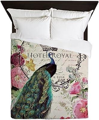CafePress - Peacock Spring Flowers - Queen Duvet Cover, Printed Comforter Cover, Unique Bedding, Microfiber