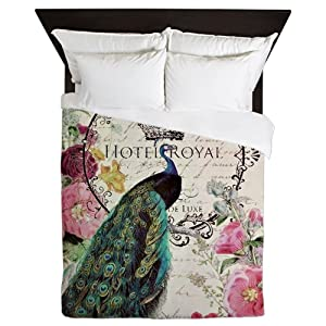 CafePress - Peacock and Spring Flowers - Queen Duvet Cover, Printed Comforter Cover, Unique Bedding, Microfiber