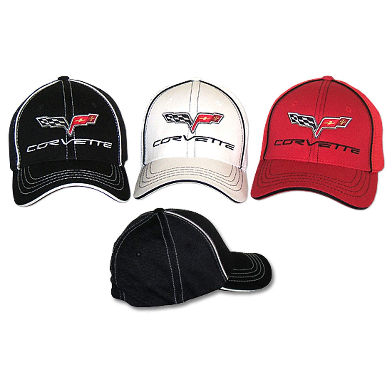 Gregs Automotive Compatible Corvette C6 Chevrolet Hat Cap Flex-Fit Bundle with Driving Style Decal Red