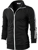H2H Mens Active Slim Fit Zip-up Long Sleeve Training Basic Designed Jacket