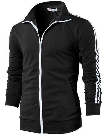 77048c1dd912 H2H Mens Slim Fit Full Zip-up Long Sleeves Training Jacket Black US S