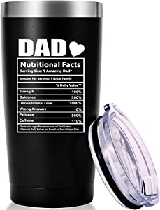 Dad Nutritional Facts Mug.Funny Gag Dad Gifts.Birthday,Christmas Gifts for Men,Dads,New Daddy,Papa,Father from Wife,Son,Daughter Tumbler(20oz Black)
