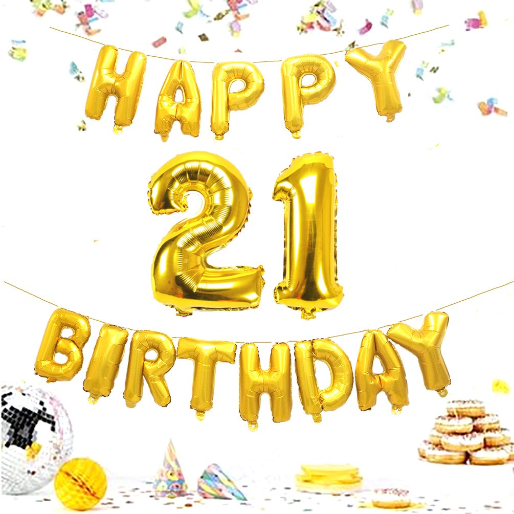 KIYOOMY 40 in Number 21 Balloons Jumbo Foil Mylar Number Balloons with Happy Birthday Foil Letter Balloons for Sweet 21 Birthday Party ...