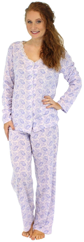 Sleepyheads Womens Sleepwear Lightweight Cotton Long Sleeve Button Up Pajama PJ Set at Amazon Womens Clothing store: