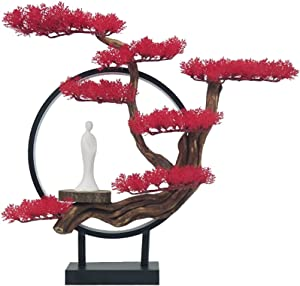 Artificial Potted Plants Indoor Artificial Bonsai Tree With LED Light Fake Plants Artificial Zen Bonsai Tree For Home Office Indoor Decor, Size: 19.7 X 18.1x 3.9 Inch Artificial Tree ( Color : Red-b )