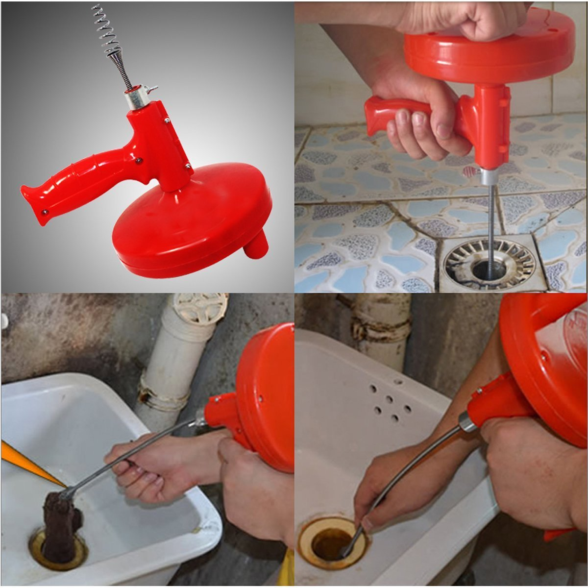 Pacii Pipe Cleaners Spin Thru Drain Auger Conduit Toilet Sewer Cleaner Closet Drum Auger Tool//Drain Snake Cleaner Clog Sink Cleaning Plumbing Plumber Pro Opener With 1//4-Inch by 16-Feet Cable