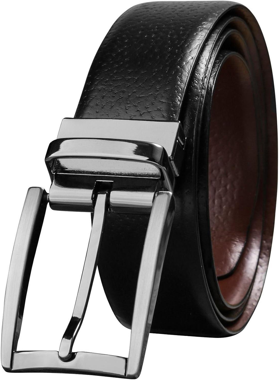 Savile Row Men's Top Grain Leather Reversible Belt, Classic & Fashion Designs