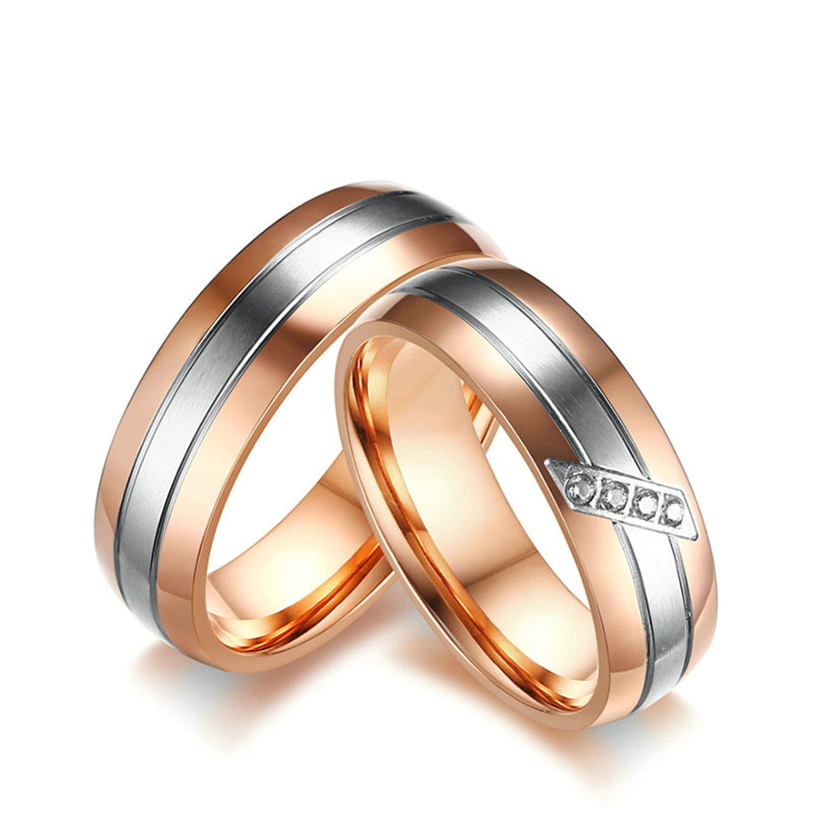 Beydodo 1 Pair His and Hers Ring, Stainless Steel Two-tone 6MM Wedding Ring CZ Women Size 6 Men Size 9