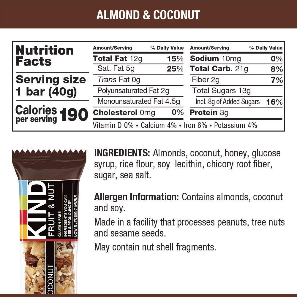 KIND Bars, Almond and Coconut, Gluten Free, 1.4 Ounce Bars, 24 Count by KIND (Image #6)