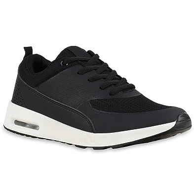 premium selection cc509 8fb9d Damen Sport Runners Sneakers Lauf Fitness Trendfarben Sportliche Schnürer  Schuhe 133750 Schwarz Weiss 36 Flandell
