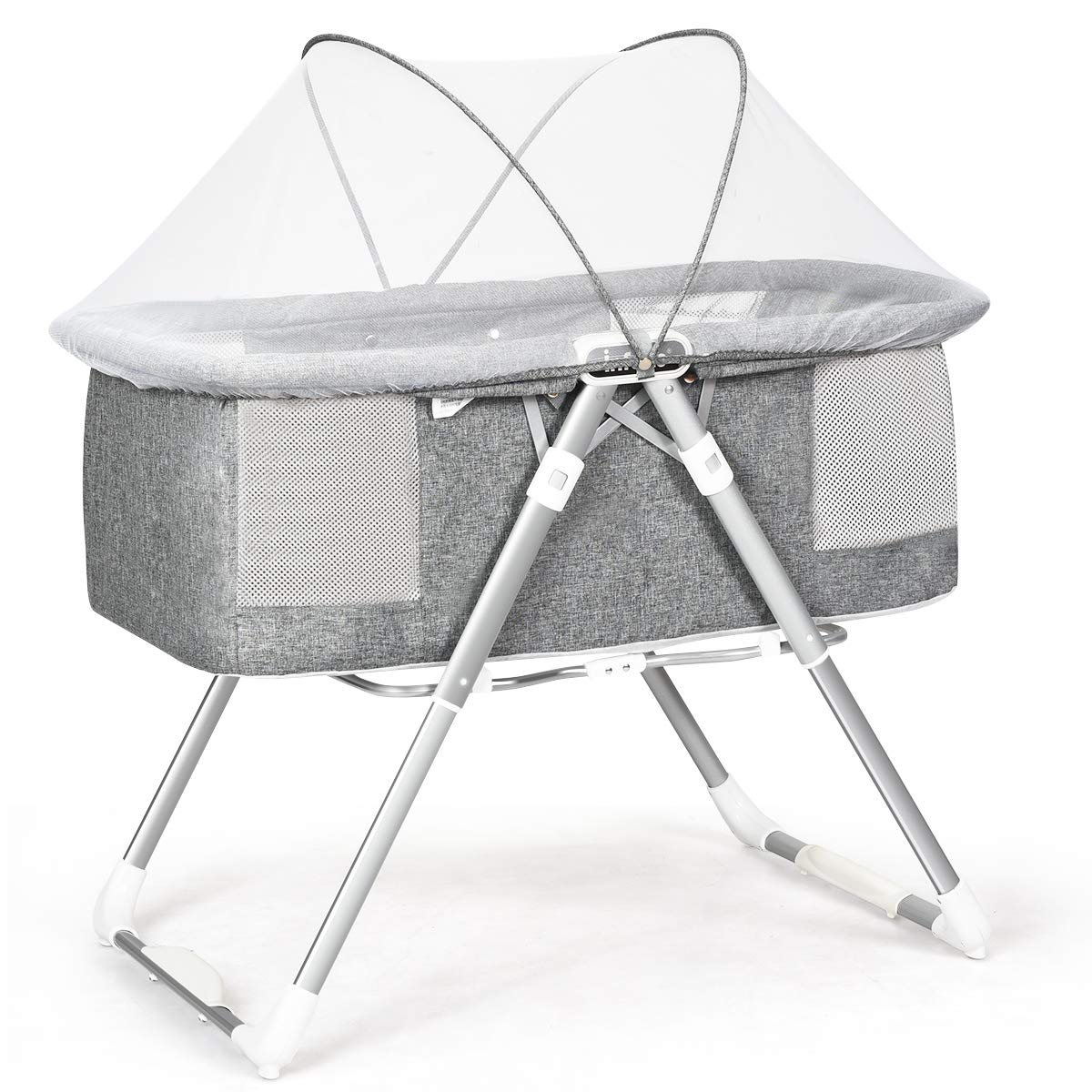 INFANS 2 in 1 Rocking Bassinet for Newborn Baby, One-Second Fold Travel Crib with Detachable & Thicken Mattress, Height Adjustable Legs, Mosquito Net, Cradle with Stationary & Rock Mode (Grey)