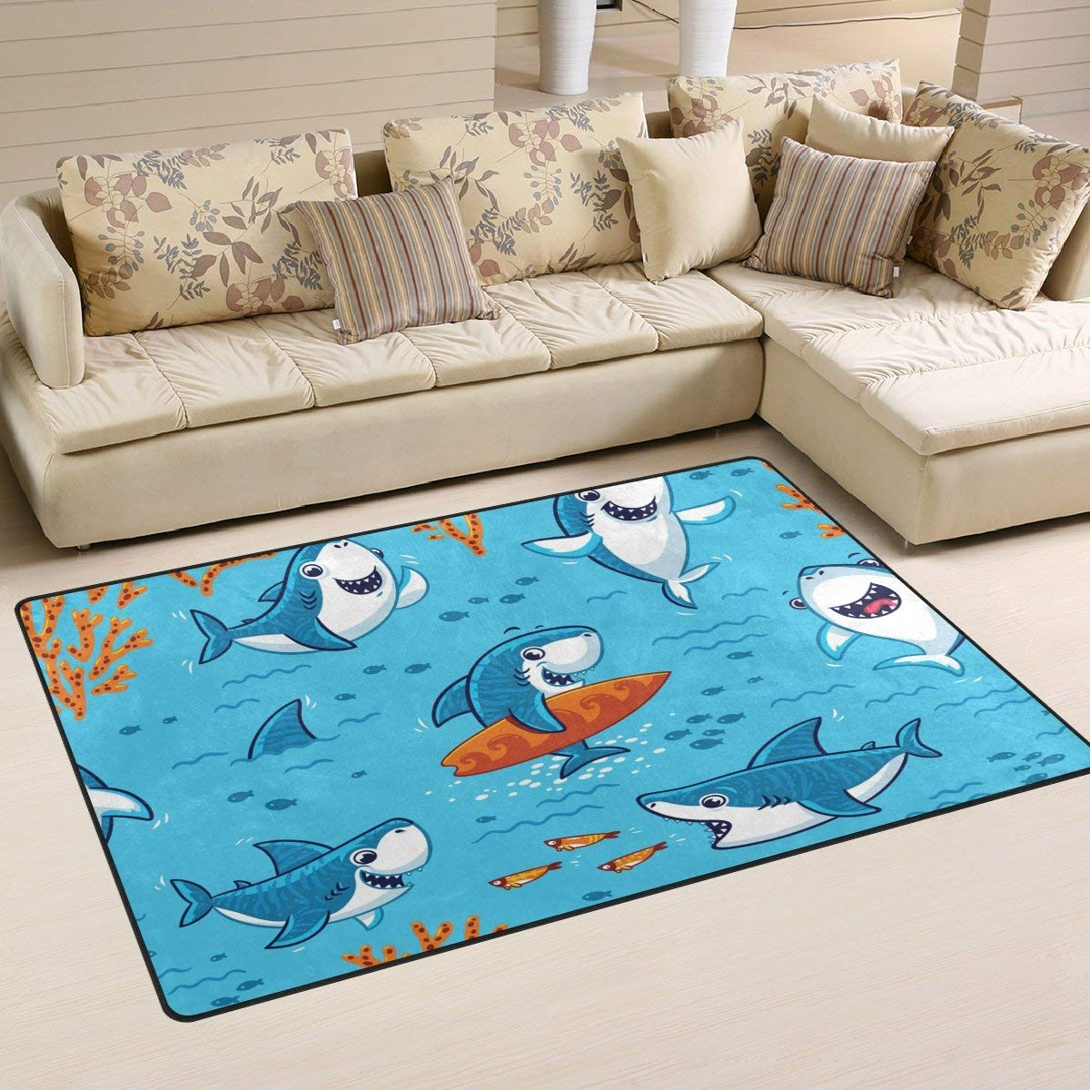Terrific Amazon Com Frank Marner Cartoon Blue Sharks In The Ocean Beatyapartments Chair Design Images Beatyapartmentscom
