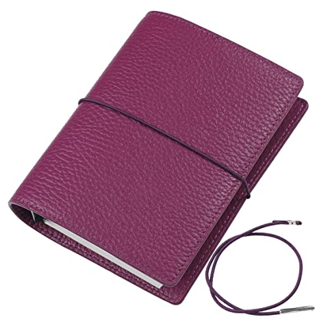 A7 Leather Planner 6 Ring - Moterm Pebble Pattern Organiser Planner, 5.6 x 4.5 Inches Rings Binder Planner Cover Diary Agenda (A7 Size, Purple)