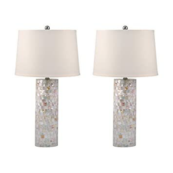 Set Of 2 Mother Of Pearl Cylinder Table Lamps