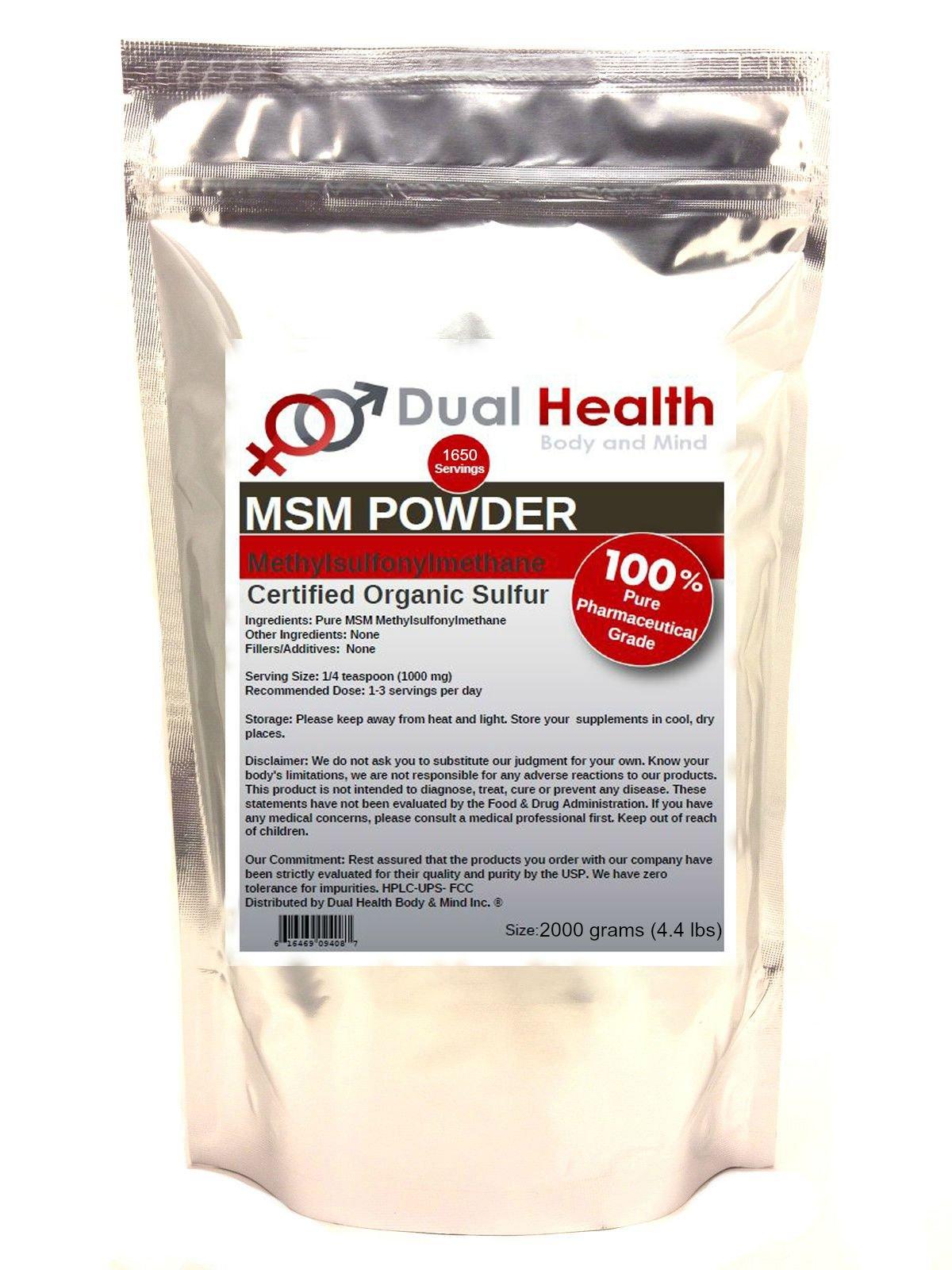 Pure MSM Methylsulfonylmethane Powder (2000g / 4.4 lb) Bulk Supplements