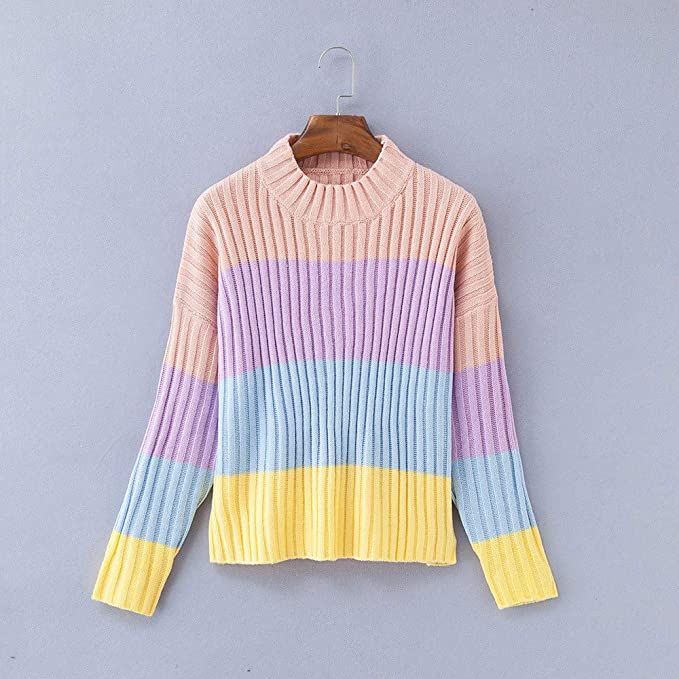 JOFOW Women Striped Sweater, Colorful Multicolored Striped Block Patchwork Knitwear Casual Knitted Tops Pullover at Amazon Womens Clothing store: