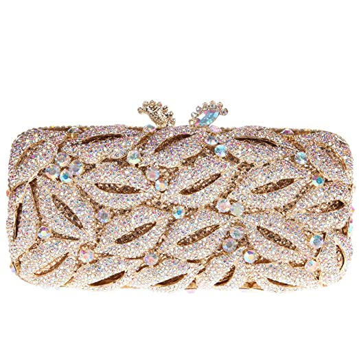 Bonjanvye Glitter Flower Clutch Purses Rhinestones and Handbags for Girls Orange jT5nJ