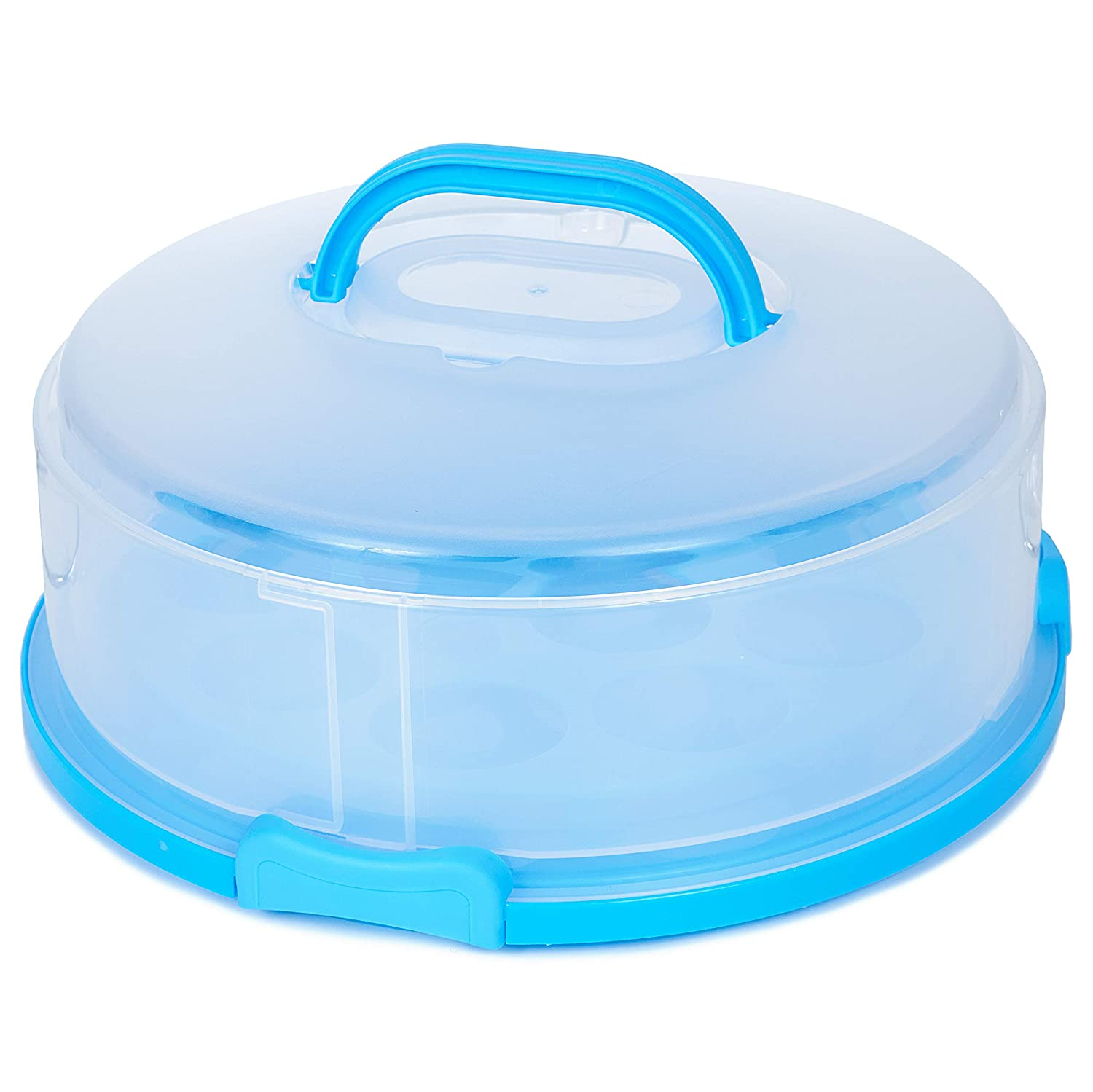 Plastic Cake Carrier Cover Container + Cupcake Holder – Expands & Collapses to Fit 7.5 Inch Tall Cakes – Extra Large Round BPA-Free Travel Platter for Bakers, Chefs, Caterers   12-Inch