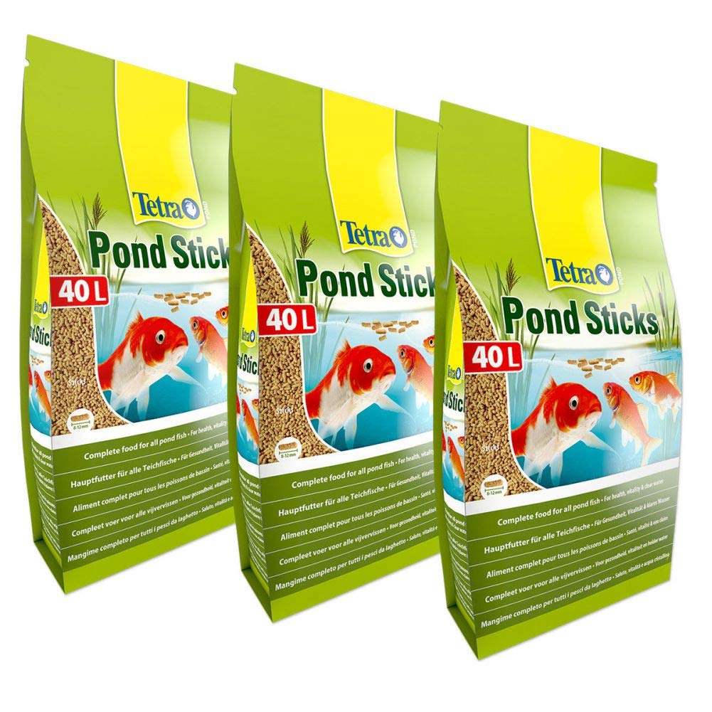3x 40 Litre TetraPond Sticks Pet's House 40L TETRA POND STICKS FLOATING KOI FISH goldFISH FOOD DAILY DIET SACK 4.2KG BULK
