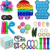 30Pack Sensory Fidget Toys Set, Stress Relief and Anti-Anxiety Toys Bundle for Kids&Adults, Push Pop Bubble,Marble and…
