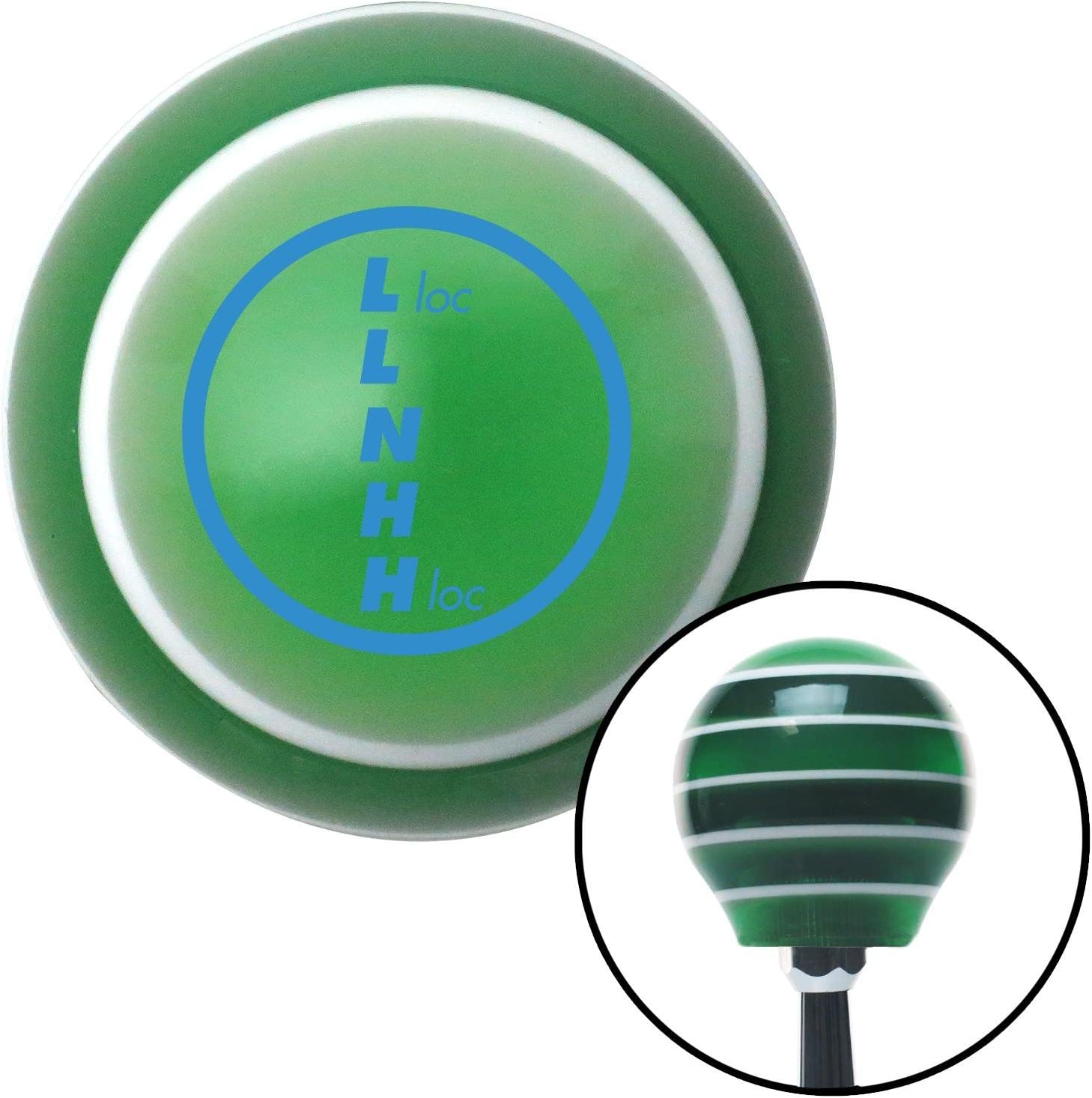 Blue Transfer Case #1 American Shifter 127607 Green Stripe Shift Knob with M16 x 1.5 Insert