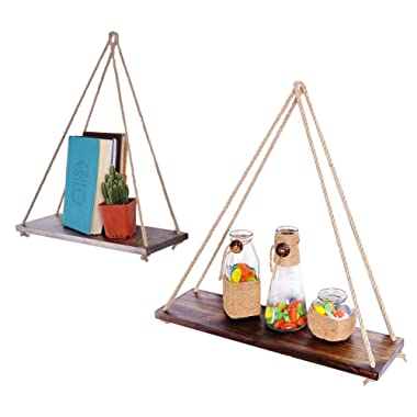 ASLINY [Set of 2] Distressed Wood Hanging Swing Rope Floating Shelves by, Brown