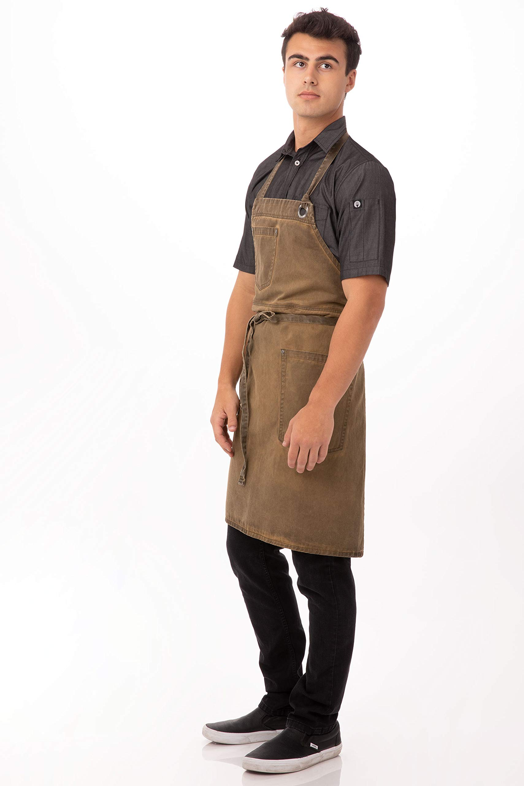 Chef Works Dorset Bib Apron, Golden Brown, One Size by Chef Works
