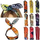Yeshan Fashion Twist Bow Wire Leaf designs Vintage Headbands Headwrap Boho Floral Printed Rabbit ear Wire Hairbands Hair…
