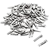 BronaGrand 100 PCS Silver Alligator Hair Clip Flat Top with Teeth for Arts & Crafts Projects, Dry Hanging Clothing, Office Pa