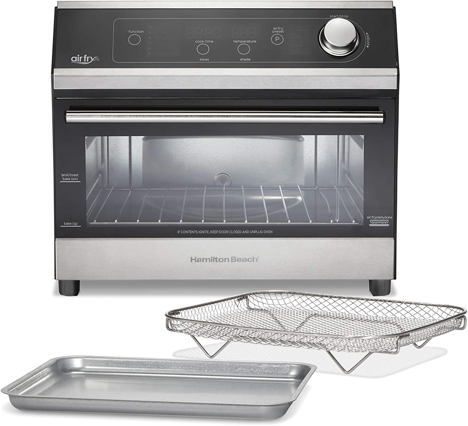 """Hamilton Beach 10-in-1 Digital Air Fryer Toaster Oven, Fits 12"""" Pizza or 6 Slices of Toast, 1800W, Black and Stainless Steel (31220)"""