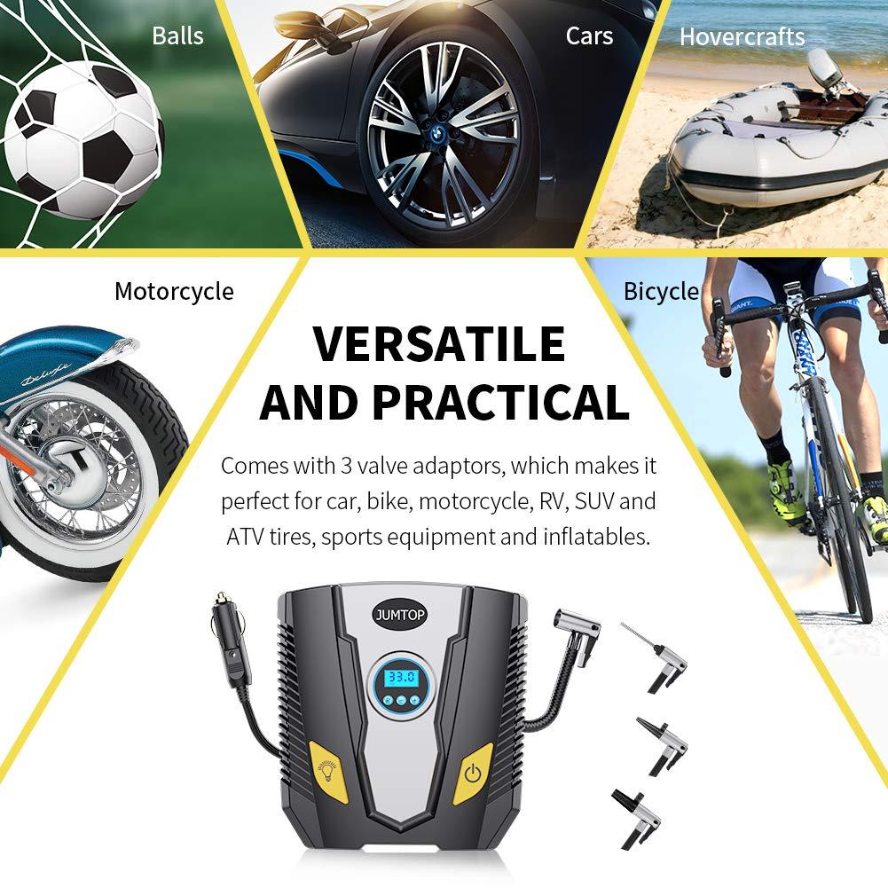 JUMTOP Compresseur d\'Air Portatif 12V/150PSI,Gonfleur Pneus Voiture, Gonfleur de Pneu avec l'Affichage Numérique LCD, Pratique pour Gonfler le Pneu de Voiture/ Bicyclette/ Moto, Lampe LED Intégrée.