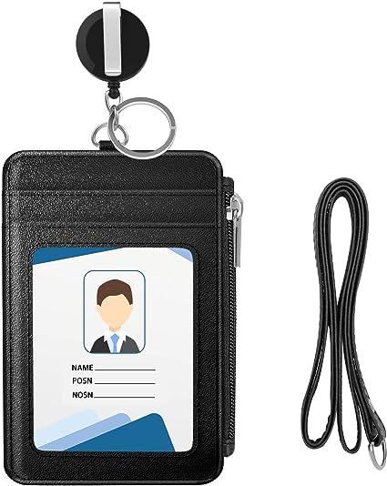 LEUYUAN ID Carte Porta Badge Orizzontale in Vera pelle con 1 Finestra ID e 1 Fessura per Carte Porta Badge con Cordino Nero