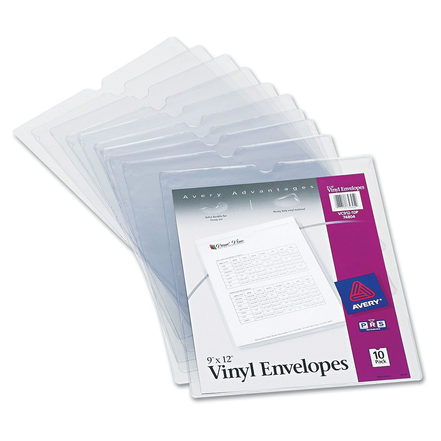 """Avery 74804 Top-Load Clear Vinyl Envelopes w/Thumb Notch, 9"""" x 12"""", Clear (Pack of 10)"""