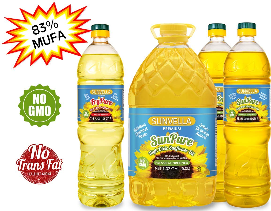 SUNVELLA Non-GMO High Oleic Sunflower Oil Variety Pack/Pressed-Refined + Pressed-Unrefined (Variety Pack (1.0L FryPure+5.0L+2x1.0L SunPure)) by SUNVELLA