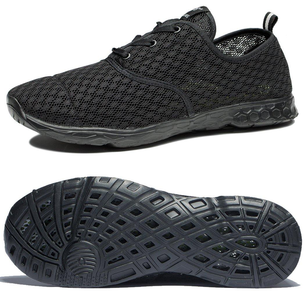NeedBo NDB Men's Mesh Slip On Quick Drying Aqua Water Shoes Breathable Lightweight Fashion Walking Shoes (10.5 D(M) US, All Black)