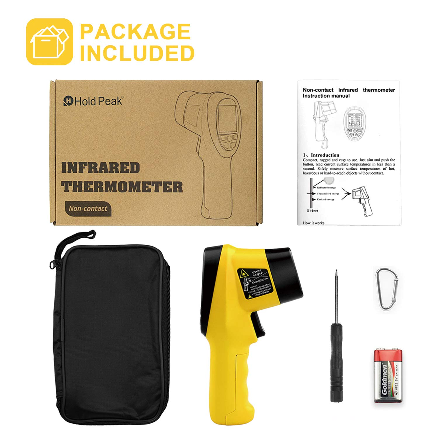 HOLDPEAK 985B Digital Infrared Thermometer Dual Laser Thermometer Non-Contact Temperature Gun -58℉~2480℉ (-50℃~1360℃) with Data Hold & Adjustable Emissivity for Forge Melting Furnace Kilns Industry by H HOLDPEAK (Image #7)