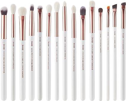 Jessup Juego de brochas de maquillaje profesionales 15 unidades, blanco perla/oro rosa, kit de herramientas de pinceles de maquillaje, delineador de ojos, sombras, pelo sintético natural: Amazon.es: Belleza